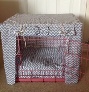 MADE TO MEASURE DOG / PUPPY CRATE / CAGE COVER / ZIGZAG FABRIC / 14 COLOURS