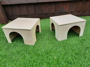 Pair of guinea pig double entrance corner cage size shelters