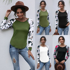 Womens Blouse Holiday Patchwork Camo Sweatshirt Ladies Tee Pullover Basic Tops