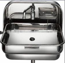 RV Caravan Camper Wallmount SS Folding Hand Wash Kitchen Sink GR-595