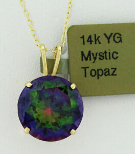 GEMSTONE 5.29 Cts MYSTIC TOPAZ PENDANT 14k YELLOW GOLD * New With Tag *