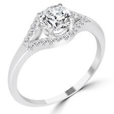 0.61 Ct Round Cut VS1/D Diamond Engagement Ring 14K White Gold