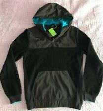 bcd4b023 NWT Hugo Boss Men ¼ Zip Hooded Sweater Medium Black/Blue Cotton & Tech  Fabric
