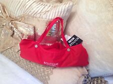 BOUTIQUE MOSCHINO RED AUTOMATIC COMPACT UMBRELLA WITH STORAGE BAG
