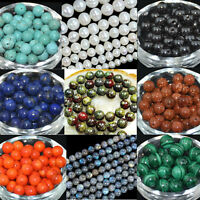 Gemstone Round Spacer Loose Beads 2mm 4mm 6mm 8mm 10mm 12mm 15.5""