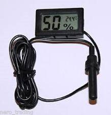 Digital LCD Thermometer Hygrometer Probe Reptile Heating Humidity Aquatic UK P&P