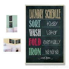 Laundry Room Chalkboard Home Decor Schedule Bathroom Wall Plaque Sign Mount  New
