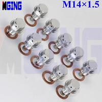 10Ps M14X1.5 Engine Magnetic Oil Pan Drain Plug Bolt Kit  Crush Washer Nut  SL