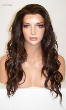 USA Long Brown Highlights # 4.27 Lace Front Wig Heat Ok Iron Safe Resistant Yvo