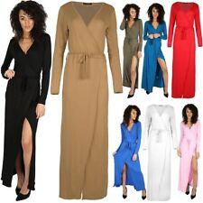 Womens Dresses Ladies Sash Tie Belt Wrap Front Slit Maxi Knot Party V Neck Top