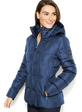 Womens Calvin Klein Hooded Quilted Down Puffer Coat – Small – Cornflower Blue