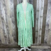 Lularoe Women's Size Small Duster Cardigan Green Lace Open Front Sheer