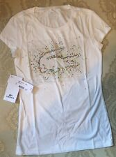 Lacoste T Shirt Size 4 France Colorful Graphic Logo New White Cotton Fitted Top