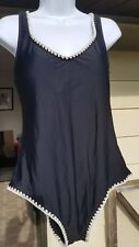 NEW Mossimo women black one-piece swimsuit XL very low back, embroidered edges