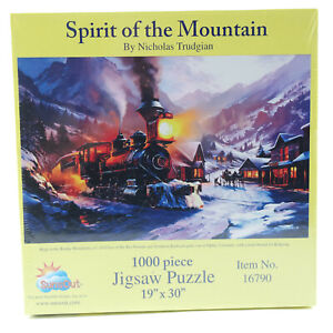 Spirit of the Mountain 1000 Piece Winter Train Engine Puzzle Nicholas Trudgian