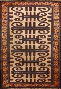 Vintage Geometric Balouch Nomad Area Rug Hand-knotted Oriental Carpet 3x3 Square