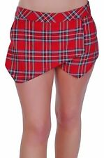 Womens Tartan Checkered Casual Plain Shorts Mini Wrap Pants Cropped Skirt Skort
