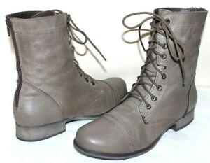 ❤️STEVE MADDEN Kombat Stone Leather Combat Lace-Up Boot 8 M EXCELLENT! L@@K!15