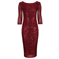 Stunning Red Sequin 3/4 Sleeve Bodycon Pencil Wiggle Party Dress UK 8-18