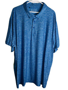 Under Armour Men Heat Gear Polo Shirt  Loose Fit Blue Performance Golf  Size 4XL