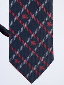 Men's Burberry London 100% Silk Monogram Logo Dark Вlue Tie