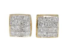 Mens Ladies 14K Yellow Gold Bezel Princess But 8 MM Diamond Stud Earrings 3/4 Ct