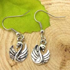 Cute New Tibetan Silver Swan Charm Dangle Drop Earrings