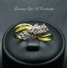 18ct Gold 0.47ct Diamond Cluster Crossover Ring Size P 4.2g