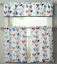 ROOSTER KITCHEN WINDOW CURTAINS 3 SET FLORAL TIERS VALANCE TURQUOISE BEIGE RED