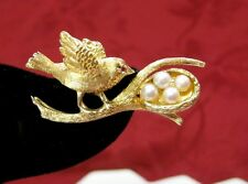 14K YELLOW GOLD BIRD NEST PEARL EGGS AND RUBY EYE PIN BROOCH VINTAGE F.J.G.