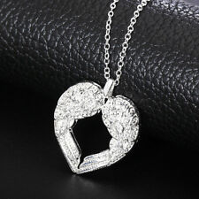 Long Pendant Necklace Silver Plated Angel Wings Heart Chain Minimalist Elegant
