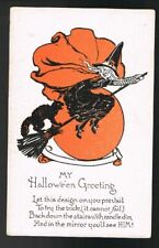 Witch & Cat on Broomstick Halloween Metropolitan News Vintage Postcard #12446