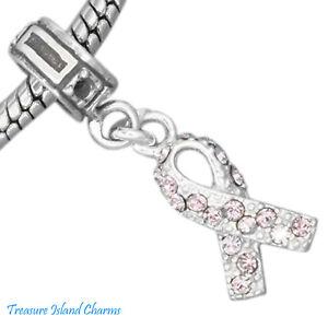 Cancer Lavender Purple Crystal Ribbon 925 Sterling Silver European Bead Charm