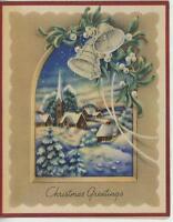 VINTAGE CHRISTMAS QUAINT WHITE MISTLETOE BELLS CHURCH VILLAGE WINTER CARD PRINT