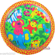 JUNGLE ANIMAL Bright Safari LARGE PAPER PLATES (8) ~ 1st Birthday Party Supplies