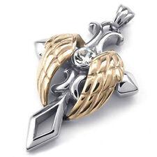 Engel Fluegel Kreuz Anhaenger 60cm  Halskette Herren Damen, Silber +Rose Gold ET