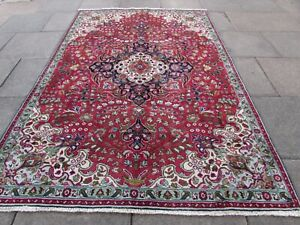 Vintage Hand Made Traditional Oriental Wool Red Green Large Carpet 275x185cm