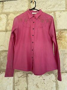 Wrangler Women's Fuchsia Button Front Long Sleeve Western Style Shirt Size M