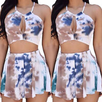 Women's Summer Cut Out Strappy Crop Tops Shorts Sets Two Piece Bandage Playsuit