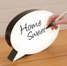 SPEECH BUBBLE LIGHT UP BOX Message Board with PEN + STENSILS