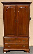Ethan Allen Georgian Court Cherry Chippendale Style Linen Press Armoire Cabinet