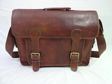 """15x11"""" Real Brown Leather DSLR Camera Briefcase Satchel Attache Eco-Friendly"""