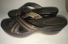 COLE HAAN Womens Brown Cross Strap Wedge Heel Vela Slide Sandal Comfort Size 10