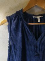 6 Size Rebecca Taylor Womens Navy Blue Sleeveless Silk Blouse top PREOWNED