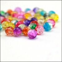 Wholesale Round Clear Crackle Art Crystal Glass Charms Beads 6mm 8mm 10mm U Pick