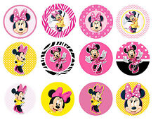 MINNIE MOUSE CUPCAKE TOPPERS 12 x PRE-CUT EDIBLE IMAGE ICING PARTY DECORATION