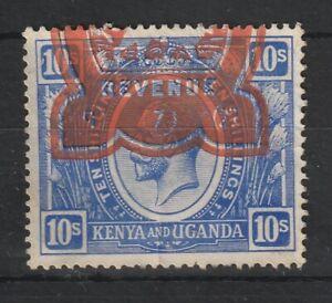 1922 Kenya  S.G.94 10/- Bright Blue. Very Fine Revenue Used.