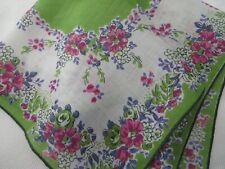 Vtg Linen Hanky Handkerchief Bright Green Pink Violet Bouquets Hnd Stitched Hem