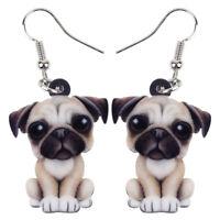 Acrylic Animal Bull Pug Dog Earrings Dangle Drop Fashion Jewelry For Women Gifts