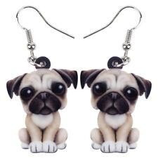 Acrylic Cartoon Bull Pug Dog Earrings Dangle Drop Fashion Jewelry For Women Gift